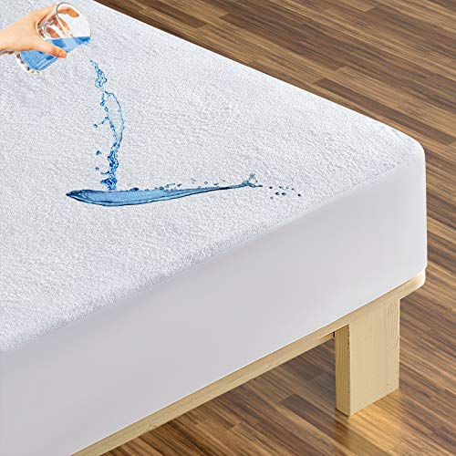 Minoroty Queen Waterproof Mattress Protector Breathable Mattress Pad Cover Fitted Sheet with Deep Pocket -...