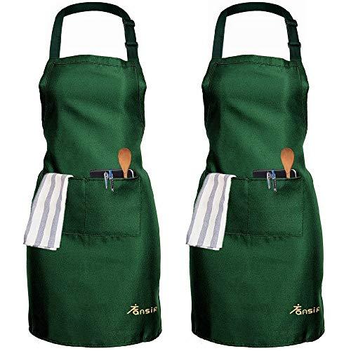 2 Pack Schürze, Wasserdicht Kochschürze mit Taschen Einstellbare Latzschürze mit 2 Taschen, Grillschürze Küchenschürze für Frauen Männer Chef-Belastbar Home Restaurant Handwerk Garten BBQ Coffee House