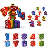 Lydaz Number Robots Transforming Toys Educational STEM Learning Bots Easter Basket Stuffers Birthday Gift for 3 4 5 6 Years Old Boys Preschool Toddlers Kids (0-9 Numbers Robots)