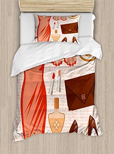 Tacón y vestidos de edredón por Ambesonne, accesorios vestido de cóctel Fashion pendientes de labios Tacones altos, decorativo juego de cama con almohada, salmón marrón Peach