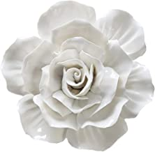 ALYCASO 3D Rose Wall Flower Decoration for Living Room Bedroom Hanging Ceramic Flower Pediments Sculpture, White, 7.08 inch