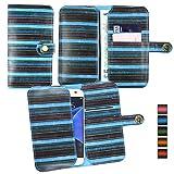Emartbuy® Blue Vintage Stripes PU Leather Wallet Case