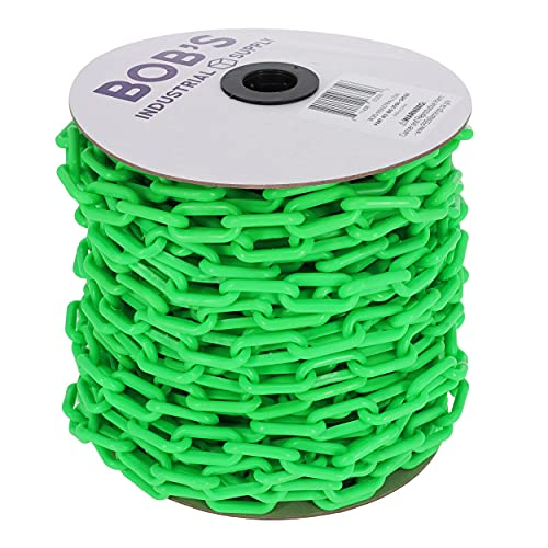 BIS Plastic Chain Links in Green – 2in x 125ft – Green Chain for Crowd Control, Halloween Chains, Prop Chains