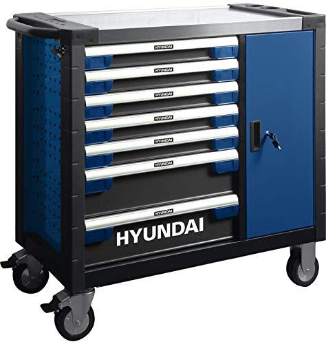 HYUNDAI Werkstattwagen SET 59004 (305-teilig, hochwertiger Werkzeugwagen, 7 Schubladen, 6 Schubladen bestückt, separater Ablagefach, Montagewagen gefüllt mit Profiwerkzeug)