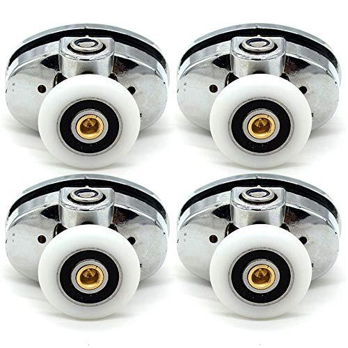 YUANQIAN Set mit 4 ovalen Rollen für Duschkabinentür, 20 mm Durchmesser, 20 mm oben, 4 Stück