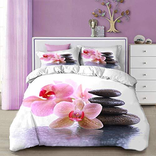 EZEZWSNBB 3D Bettbezug Set 220x240 cm Fan Orchidee und Zen Mikrofaser Bettwäsche Set 3 Stück - Reißverschluss...