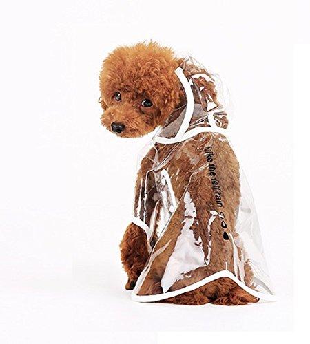 Ducomi Dogalize - Impermeabile con Cappuccio in Nylon Trasparente per Cane - Cappottino Antipioggia Modello Poncho per Cani (White, S)