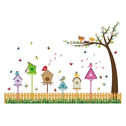 Winhappyhome Nid D'Oiseau Arbre Stickers Muraux pour Fond De Chambre D'Enfants Nursery Amovible Decor Art Stickers
