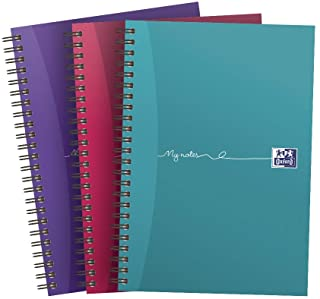 Oxford My Notes A5 Card Cover Wirebound Notebook, Ruled with Margin and Perforated, 200 Page, Assorted Colours (Pack of 3)