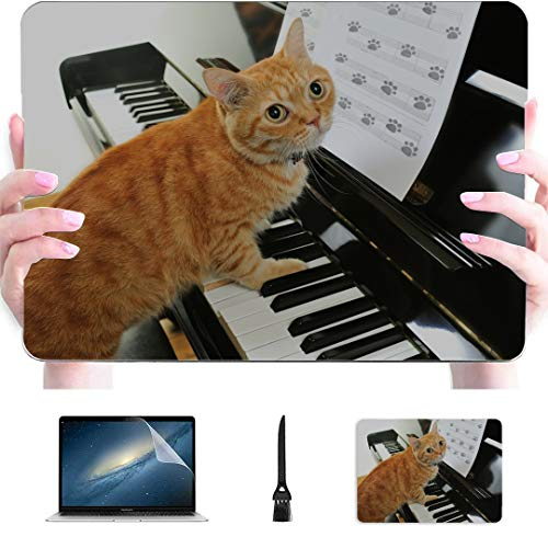 MacBook Pro 15 Cover A Cute Cat Playing The Piano Plastic Hard Shell Compatible Mac Air 13' Pro 13'/16' Laptop Cover Case Protective Cover for MacBook 2016-2020 Version