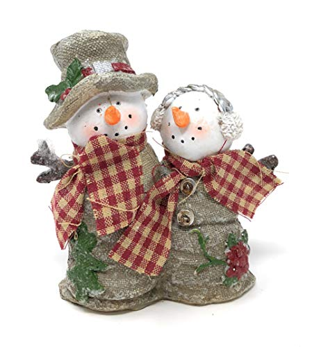 Hanna's Handiworks Ecru Beige Frosted Couple Snowman Tabletop Decorations for Winter Holidays with Burlap Style Clothing and Stick Arms