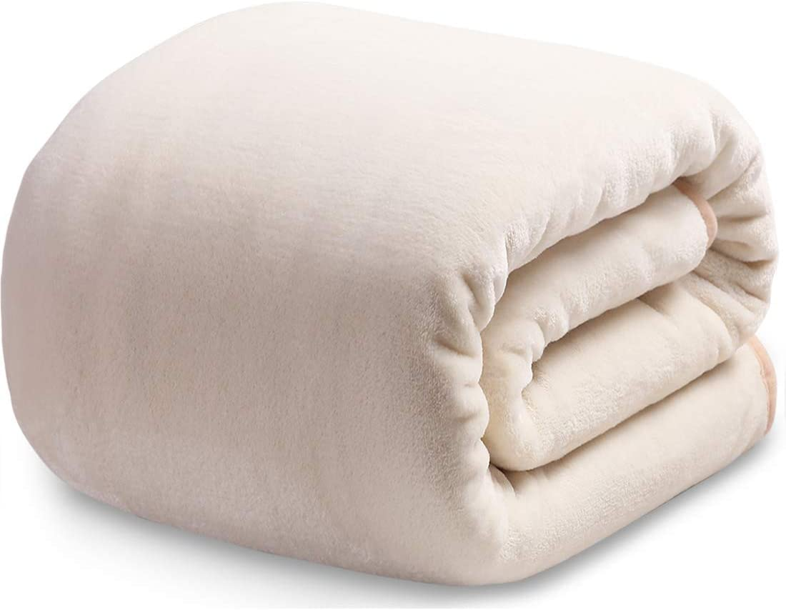 Fleece Blanket Queen Size Fuzzy Soft Plush Blanket 330GSM for All Season Spring Summer Autumn Throws for Couch Bed Sofa, 90 by 90 Inches, Ivory