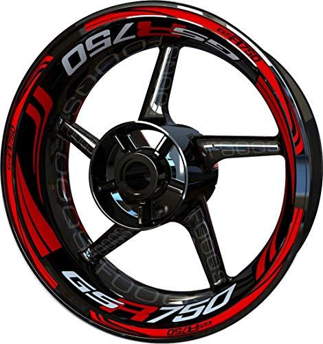 Motocicleta Moto Llanta Inner Rim Tape Decal Pegatinas F2 para Suzuki GSR 750 (Rojo)