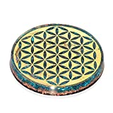Orgonite Crystal Water Charging Plate with Blue Aquamarine Healing Crystals and Flower of Life –EMF Protector Charging Coaster Dispels Negative Energy for Spiritual Cleansing (90mm)