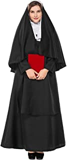 Deluxe Black Women Nun Sister Costume Christian Catholic Female Missionary Halloween Party Fantasia Fancy Dress