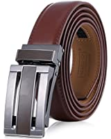 Marino Avenue Men's Genuine Leather Ratchet Dress Belt with Linxx Buckle - Gift Box (Open Grid - Brown, Adjustable from 28