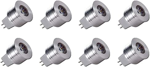 JKLcom MR11 LED Light Bulbs 1W MR11 GU5.3 Bi-Pin Base LED Light 1W(12V 10W Halogen Replacement) Warm White 3000K LED Spotlight Bulb for Landscape Accent Recessed Under Counter Lighting,90 LM,8 Pack