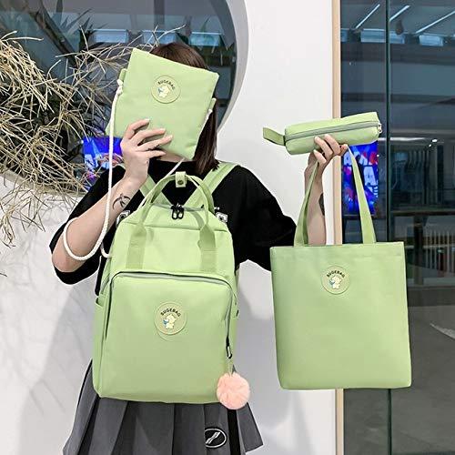 GEDE Canvas Female Book Bag Zaino 4 Pezzi/Set Zainetto Borsa da Scuola Borsa da Viaggio Moda Nappa Donna Adolescenti Adolescenti Ragazza, Stile 1 Verde Chiaro