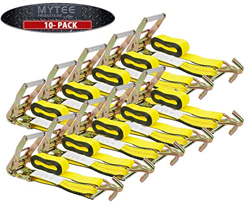 Mytee Products Ratchet Tie-Down Straps with Wire Hook, 2' x 30' Yellow Ratchet Strap | 10,000 Lbs Breaking Strength | Heavy Duty TieDown Ratchet Straps for Flatbed, Truck, Trailers Pickup (10 Pack)