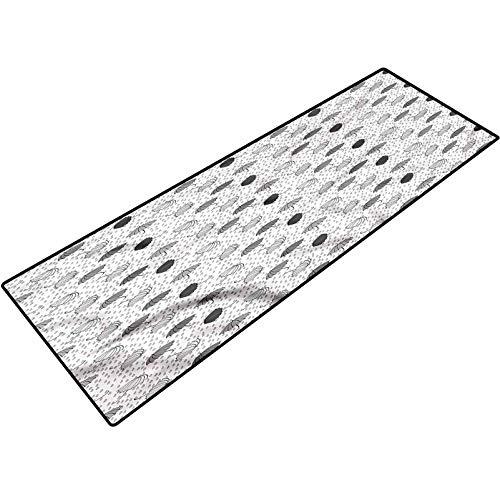 Abstract Kitchen Mats Greyscale Umbrellas Floor Mat Rug Indoor/Outdoor/Front Door/Bathroom Mats 22x36 Inch