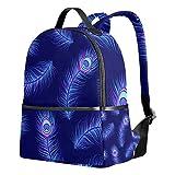 Mochila escolar Tenboya unisex coloridas plumas de pavo real para estudiantes, bolsa de senderismo