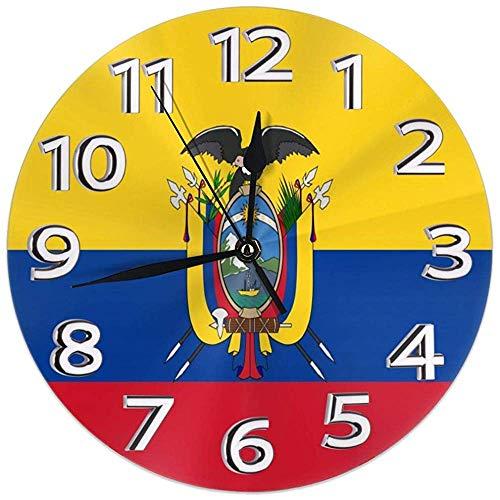 Mailine Reloj de Pared Originalidad Ecuador Bandera Reloj Redondo Silencioso Decoración del hogar Reloj de Pared...
