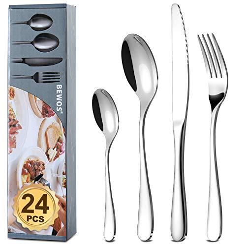 BEWOS 24 posate pesanti (1,45 kg), set di posate in acciaio inossidabile argento premium, set di posate-forchette, coltelli, cucchiai, servizio per 6 persone, lavabili in lavastoviglie