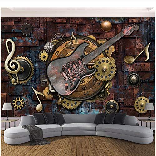Europäisches mittelalterliches klassisches Ölgemälde Benutzerdefinierte Fototapete für Wände 3D Retro Gitarre Musiknoten Bar KTV Restaurant Cafe Hintergrund Tapete Wandbild Wandkunst 3D