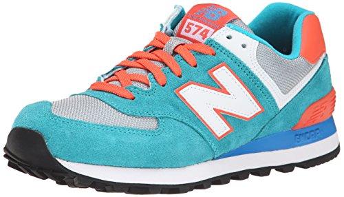 New Balance Damen WL574 Sneakers, Blau (Blue Atoll/Orange), 36.5