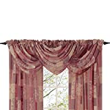 Collections Etc Style Master Renaissance Home Fashion Jasmine Tile Print Sheer Waterfall Valance, 47 by 38-Inch