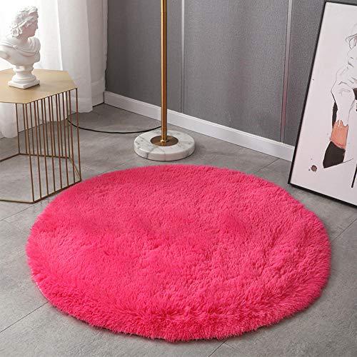 Alfombras pie de Cama Lavables Tela,Alfombra redonda del dormitorio de la sala de estar del hogar del teñido anudado degradado-Rose red_160 * 160,En Colores Pastel Alfombra habitación Dormitorio