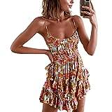 MAHUAOYIXI Mini Abito Donna Sexy Vestito Elegante Stampa Floreale Abito Corto Senza Schienale Vestito da Spiaggia Cerimonia Casual (Multicolore, XL)
