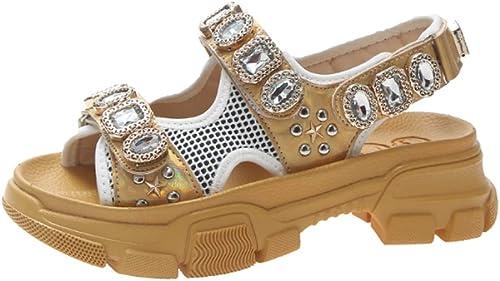 Sandales, Chaussures pour Femmes, Fond Plat, Chaussures à Plateforme polyvalentes à rivets-jaune-38