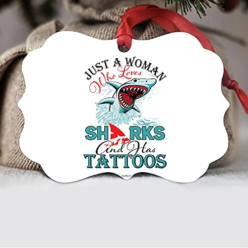 Just A Woman Who Loves Sharks And Has Tattoos Aluminum Ornament