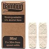 Eco-friendly Biodegradable Natural Silk Dental Floss Refills: Two 30m Floss Spool Refills (Plastic Free Packaging)