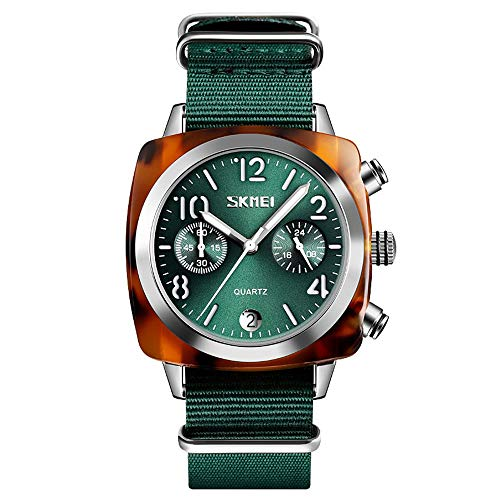 Diommest Women's Creative Trend Watch, Couple Plein Watch, Nylon Fashion quartz horloge Timing Kalender Fashion Horloges voor mannen (Color : Green, Size : Style-A)