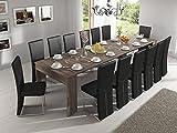 Dimensioni tavolo chiuso:49 x 90 x 75cm (L x P x A). Finiture in melamina, color rovere scuro, di alta qualità, realizzato con delle tavole di legno agglomerato di alta resistenza di una eccezionale spessore di 22cm. Binari estensibili in acciaio c...