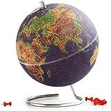SUCK UK Multicolor Globo Terráqueo Pequeño | Bola del Mundo De Corcho Diseño Decoración del Hogar, 18x14x14 cm