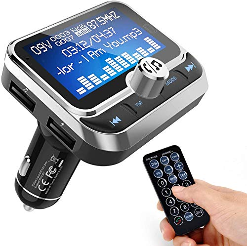 WYYHAA Bluetooth FM Transmitter for Car, Wireless Bluetooth 4.1 Radio Adapter Car Kit with Handsfree Calling 2 USB Ports Voltage Detection Support TF Card U-Disk with Remote Control