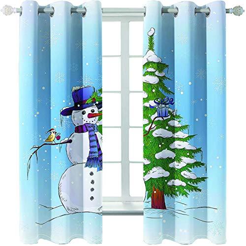MMHJS Cortinas Estampadas Navideñas 3D Aislamiento Térmico Impermeable Cortinas De Tela Cálida Cortinas Verticales Opacas para Decoración De Paredes De Dormitorio Y Sala De Estar (2 Piezas)