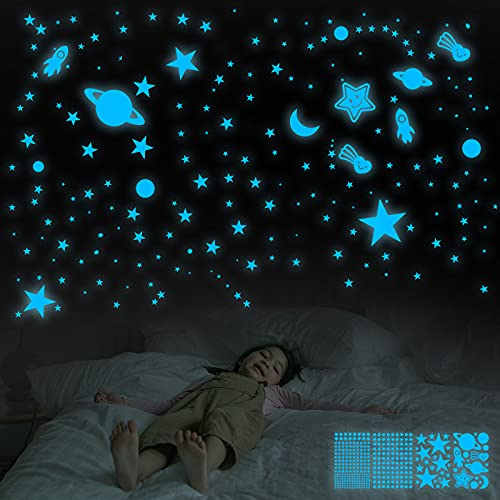 Glow in The Dark Stars for Ceiling,359Pcs 3D Glowing Star Removable Self-Adhesive Wall Decals,Moon, Rocket and Planets Wall Stickers for Girls Boys Kids DIY Bedding Room Bedroom Décor (Blue)