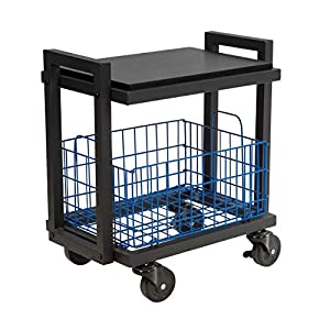 Atlantic Cart System 2 Tier Cart – Narrow Mobile Storage, Interchange Shelves and Baskets, Powder-Coated Steel Frame…