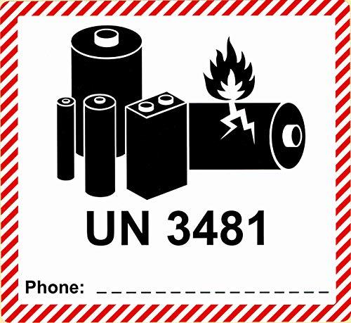 BT-Label 250 Gefahrgutetiketten UN 3481, 120 x 110 mm - Aufdruck: enthält Lithium-Ionen-Batterien, Akku - Transportaufkleber, Gefahrgutaufkleber selbstklebend