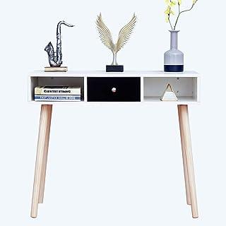 Ansley&HosHoワークデスク 幅90 パソコンデスク 引き出し付き オフィスデスク 白 事務机 木製 ㍶デスク 収納 勉強机 作業デスク コンパクト おしゃれ 自宅 書斎 オフィス リビング 組立簡単 ホワイト
