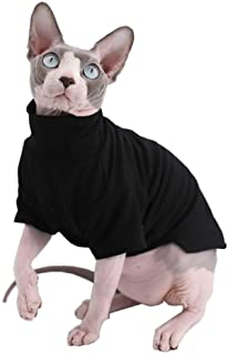Sphynx Cat Clothes Winter Thick Cotton T-Shirts Double-Layer Pet Clothes, Pullover Kitten Shirts with Sleeves, Hairless Ca...