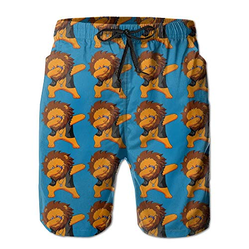 maichengxuan Beach Shorts Dabbing Lion Funny Animals Casual Men's Surfing Boardshorts with Pocket