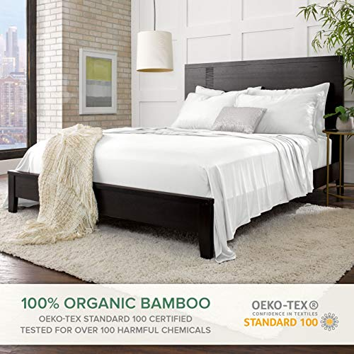 """Pure Bamboo Sheets Queen Size Bed Sheets 4 Piece Set, 100% Organic Bamboo, Luxuriously Soft & Cooling, Double Stitching, 16"""" Deep Pockets, 1 Fitted, 1 Flat, 2 Pillowcases (Queen, White)"""