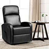 Giantex Massage Recliner Chair, PU Leather Single Sofa Recliner, Heavy Padded Seat, 5 Vibration Modes, Home Theater Seating for Modern Living Room