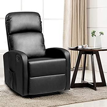 Giantex Manual Black Leather Recliner Chair Lounger for Home Theater