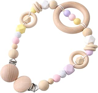 Let's Make Personalised Handmade Baby Natural Wooden Silicone Pacifier Clip Pram Chain Newborn/Toddler